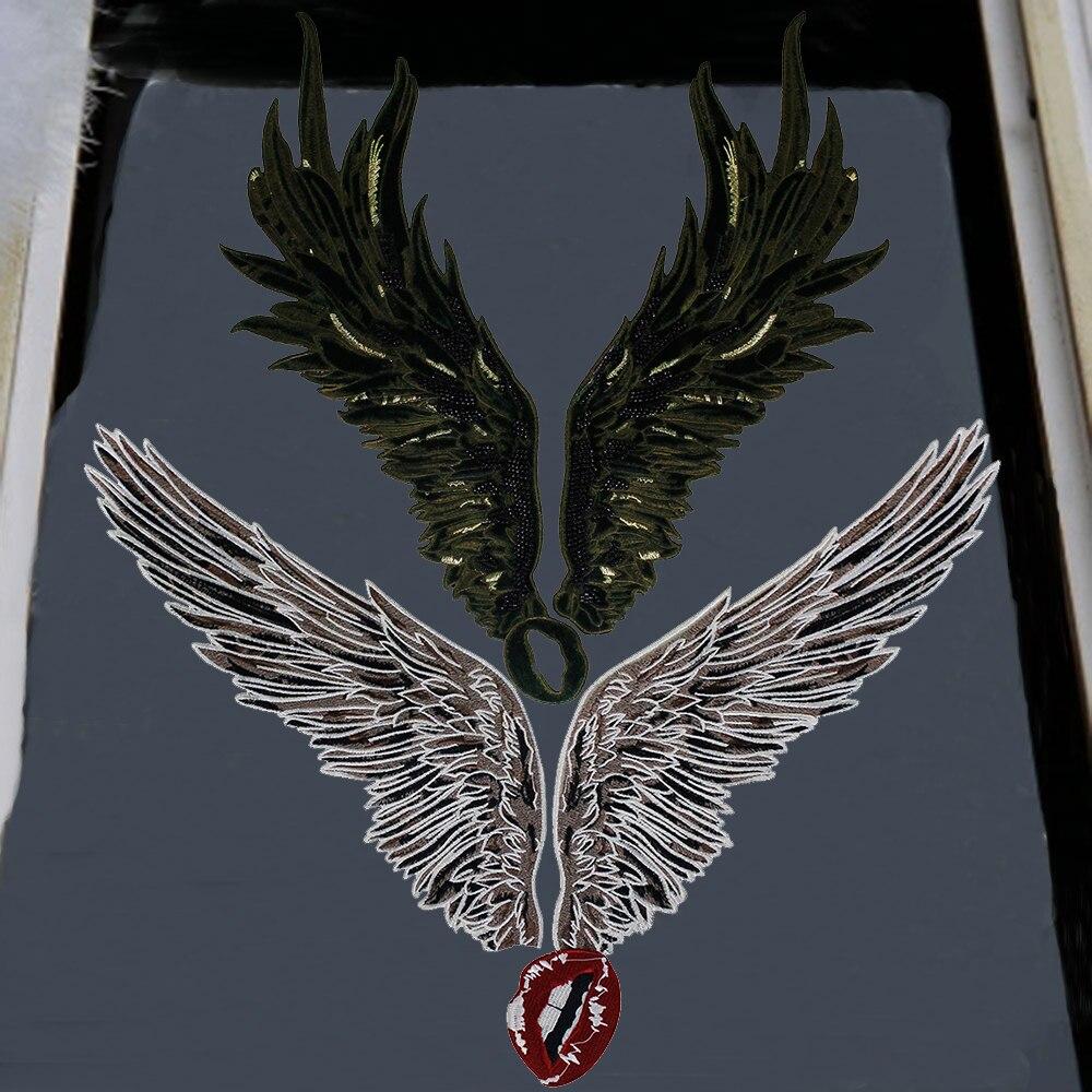 1 комплект, большая нашивка с изображением крыльев Ангела, с изображением рта, пришивная футболка, одежда с аппликацией, аксессуары для одеж...