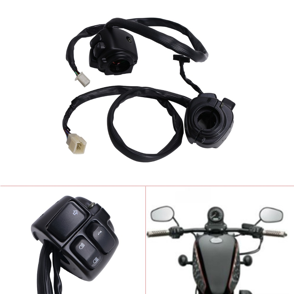 Black Control Switch 1 Handlebar 29 Wire Harness Turn Signals Light On / Off Switch For Harley Dyna Softail XL883 Sportste C/5 bqlzr dc12 24v black push button switch with connector wire s ot on off fog led light for toyota old style