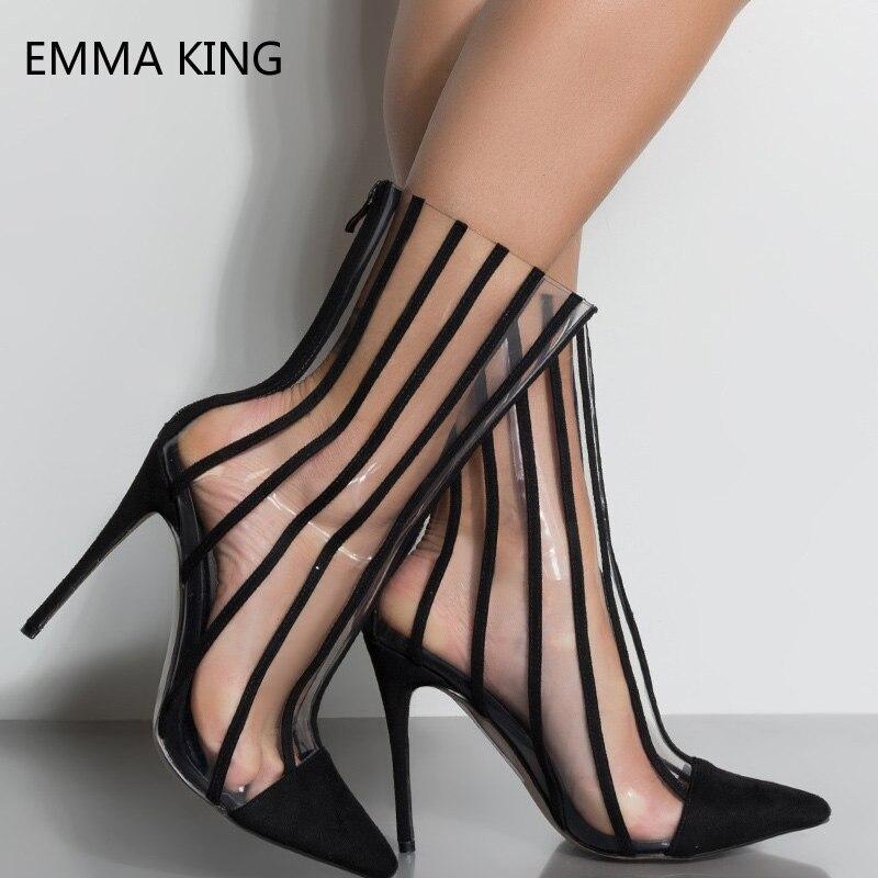 Bout Clair Botas Femmes Chaussures Transparent Pour Picture Mujer Talons Pointu As Bottes Rayé Aiguilles Bottines Dames Haute Noir F6IgF