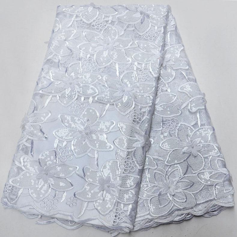 Dernière dentelle de Tulle africain de haute qualité cordon africain dentelle pour robe de mariée nigériane couleur blanche Organza paillettes dentelle tissu