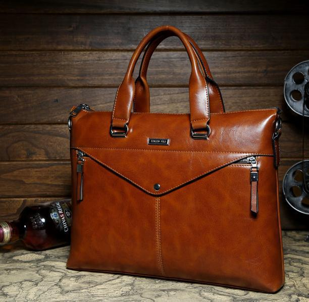 2017 Best Ing Men Leather Briefcase Brand Handbags Laptop Bag Shoulder Messenger Factory Outlet Export Free Shipping In Briefcases From Luggage