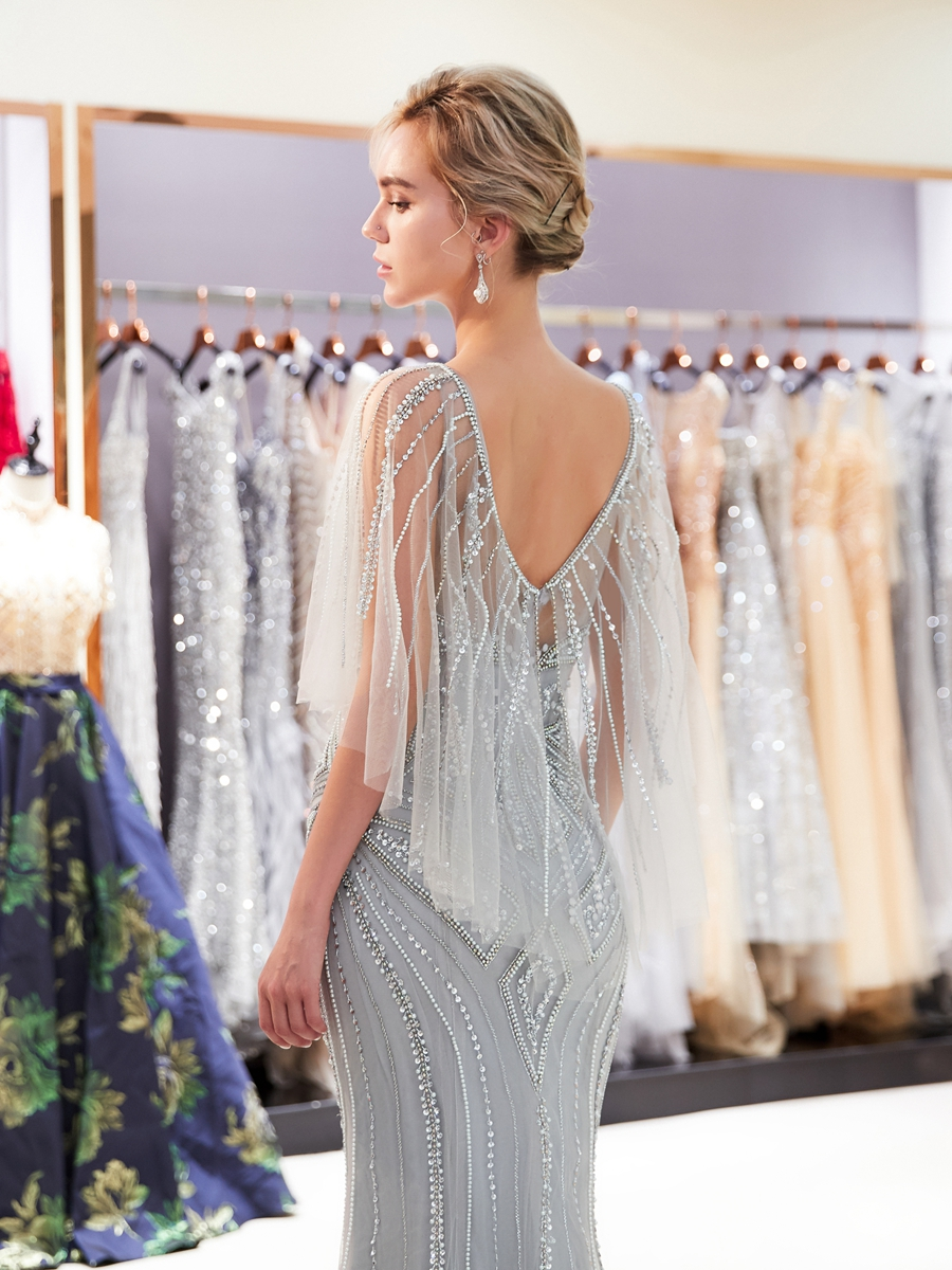 Evening Dresses Gray Evening Dresses Beaded Pearl Sequined Prom Gowns Gold Mermaid Short Sleeves Vestidos Formal Para Mujer Handwork Sheer Neck