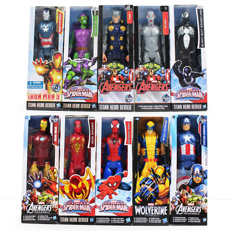 <font><b>Superhero</b></font> The Avengers Iron Man <font><b>Captain</b></font> <font><b>America</b></font> Spiderman Green Goblin Venom PVC Action <font><b>Figure</b></font> Can Moved Model 30cm