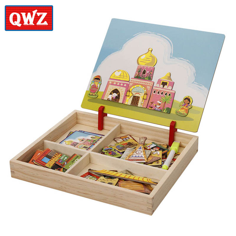 Wooden Educational Magnetic Puzzle Game - Reusable Stickers For Children 1