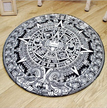 40/60/80cm Round Carpets Black White Totem Print Carpet Anti-slip Rugs Computer Chair Mat Home Decor Floor Mat for Living Room(China)