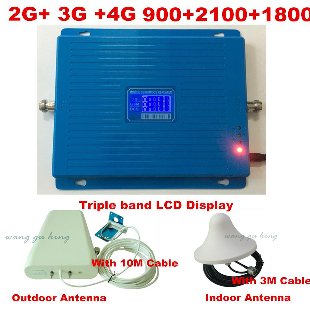 LCD display2G 3G 4G GSM répéteur 900 WCDMA 2100 LTE 1800 Tri bande amplificateur de Signal cellulaire 70dB Gain gsm répéteur 3G 4G amplificateur