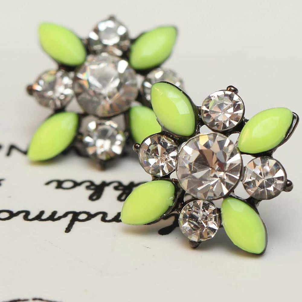 Women's fashion earrings New arrival brand sweet metal with gems stud crystal earring for women girls e293