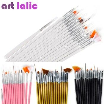 15 pcs Decorações Da Arte Do Prego Jogo de Escova Ferramentas de Pintura Profissional Pen para Unhas Falsas Dicas de Unhas de Gel UV Polonês