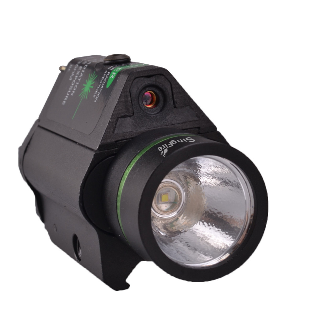 SingFire SF-P04 Tactical Pistol 5mw Green Laser Stroboscopic LED Flashlight CREE XR-E Q5 250LM Balck singfire sf p04 tactical pistol 5mw green laser stroboscopic led flashlight cree xr e q5 250lm balck