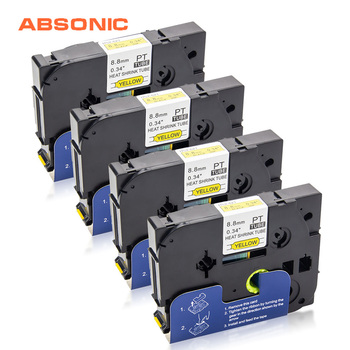 Tubo Termorretráctil Absonic 4 Uds HSe-621 Negro Sobre Amarillo 8,8mm * 1,5 M Compatible Brother P-touch Label Printer HS621 HS-621 Para Mark