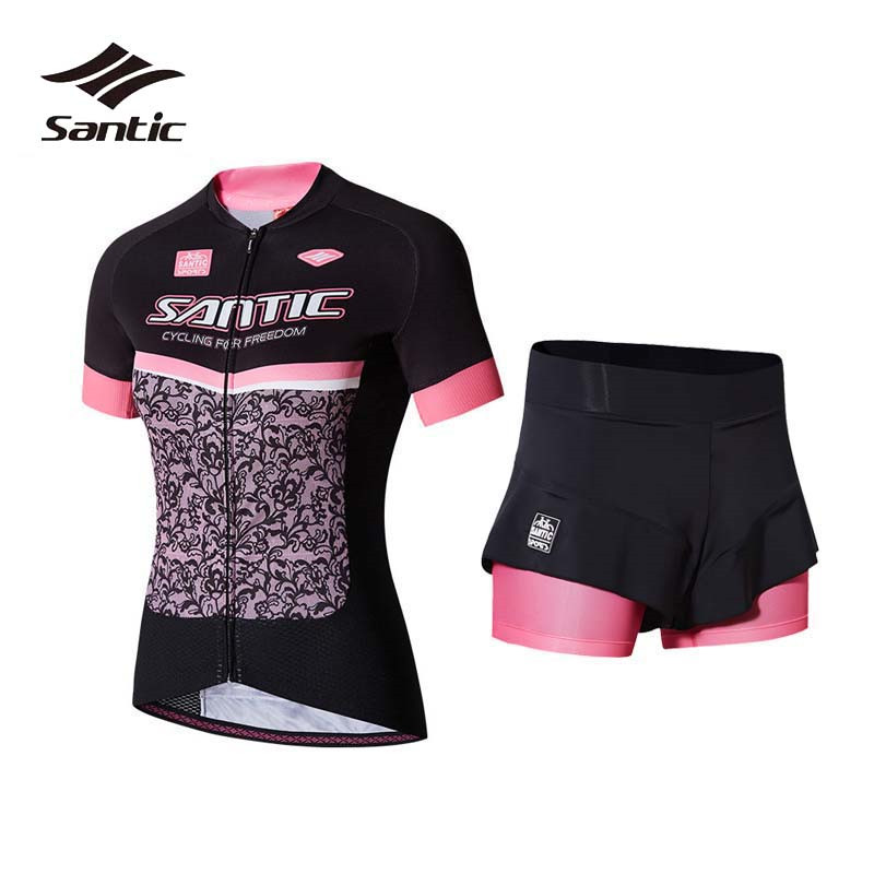 Santic Cycling Jersey Sets Women Short Sleeve 2018 Summer Cycling Clothing Bicycle Sportswear Breathable Bike Shorts Top Shirts santic cycling clothing women short sleeve breathable cycling jersey sets padded road mountain bike shorts 2018 bicycle clothes