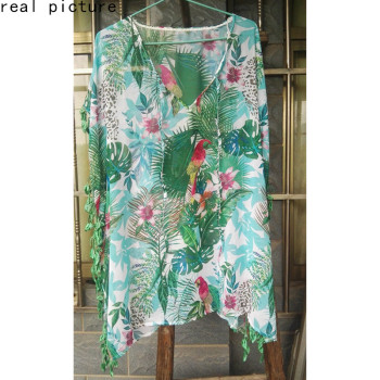 Women Print Pareo Beach Cover Up Chiffon Saida De Praia tunic Summer dress beach bikini cover up Swimsuit Kaftan Swim Beach Wear 4