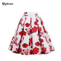 Qyibian 2017 New White Skirts Womens High Waist Skirts Plus Size Knee Length Pleated Skirts Red