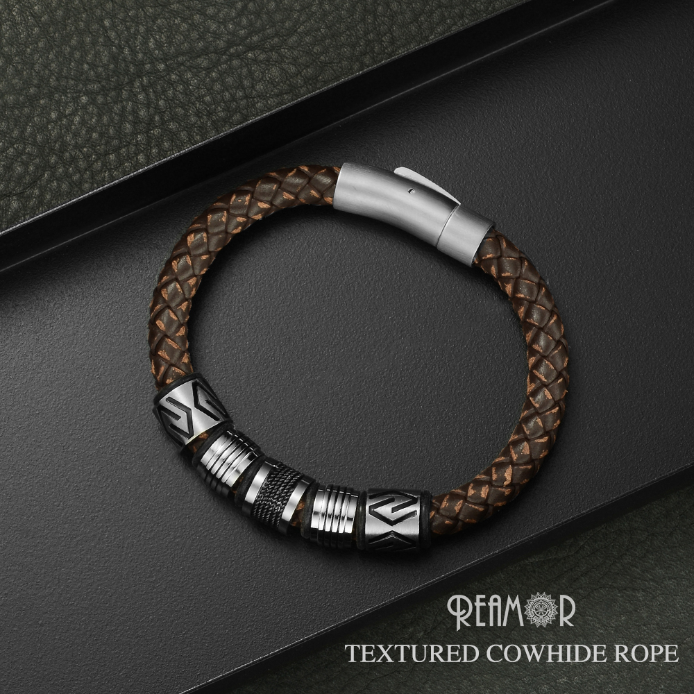 REAMOR New Classic Men Hand-craft Genuine Leather Bracelet Stainless Steel Matte Button Clasp Bangles Jewelry Dropshipping