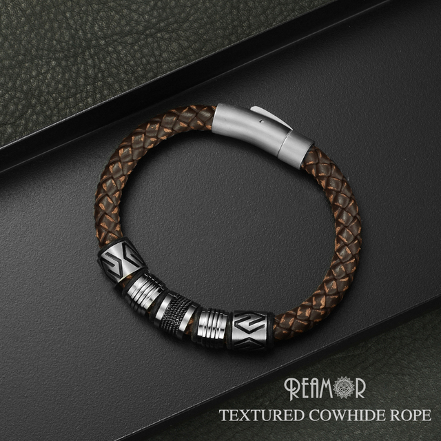 REAMOR New Classic Men Hand craft Genuine Leather Bracelet Stainless Steel Matte Button Clasp Bangles Jewelry Dropshipping