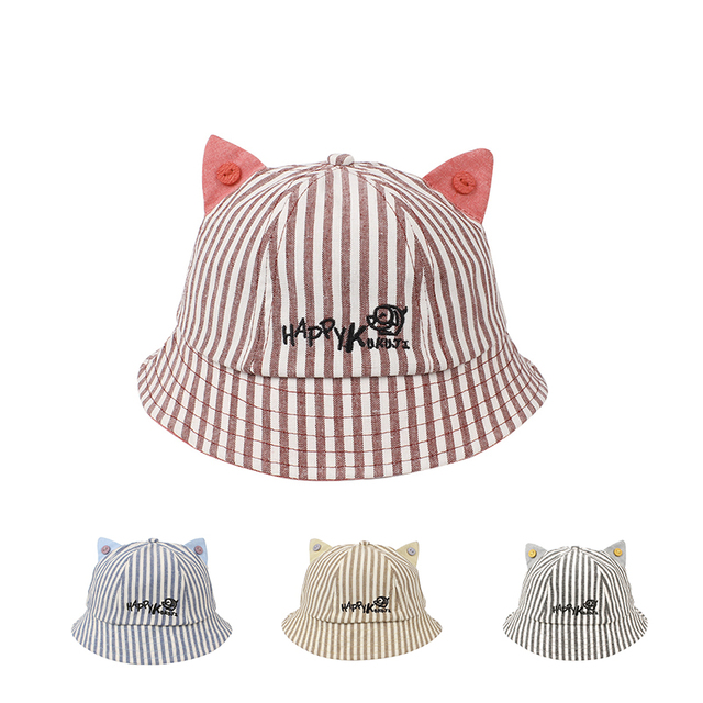 5f3958f29c6 Cute Striped Baby Hat Cat Panama Baby Girls Cap Cotton Kids Sun Cap With  Ears Spring