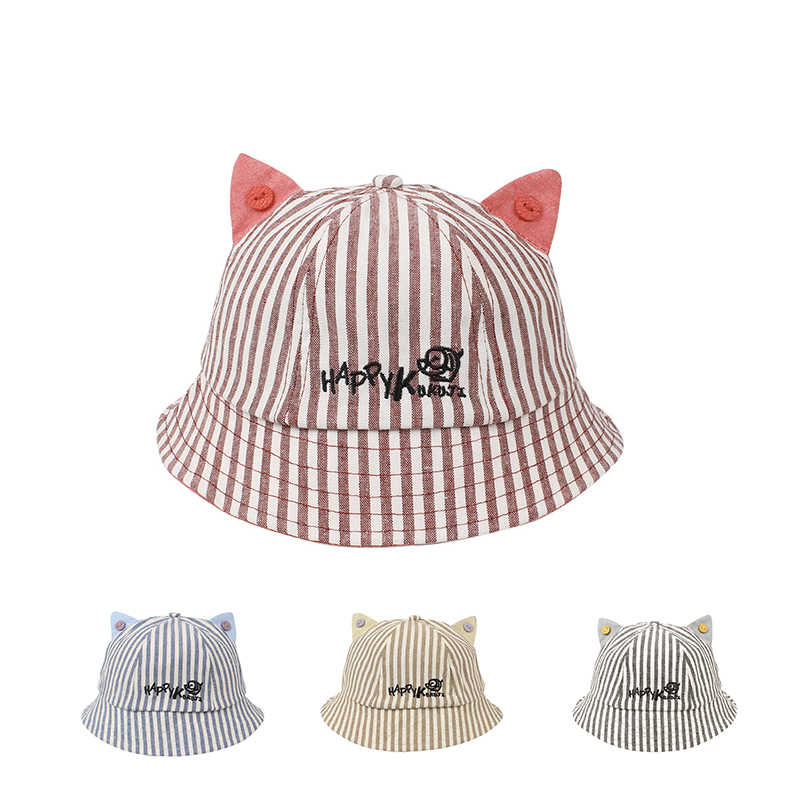 14ab0a2e322 Cute Striped Baby Hat Cat Panama Baby Girls Cap Cotton Kids Sun Cap With  Ears Spring