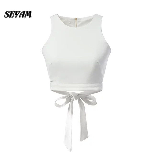 SEYAM Camisole Tank White Crop Top Back Bowknot Tie Women Summer Fitness Sexy Tank Camis Top PL0414