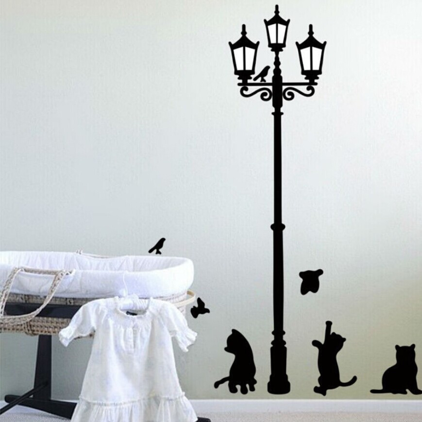 Cute black lamp cat wall stickers home decor removable living room wall pictures cartoon kids room wall art