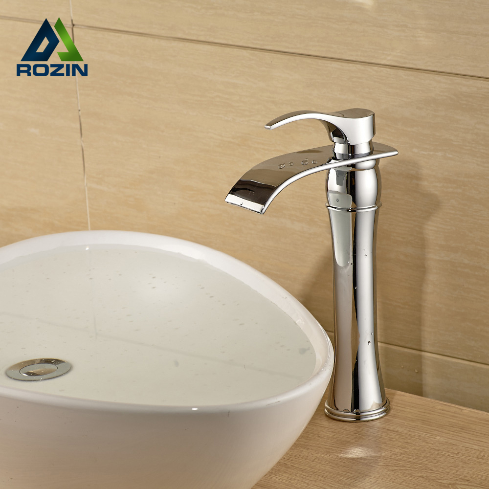 Countertop Tall Brass Basin Sink Faucet Deck Mount Chrome Bathroom One Hole Mixer Taps Single Handle dropshipping golden countertop basin faucet one handle single hole brass vanity sink mixer taps with hot and cold water