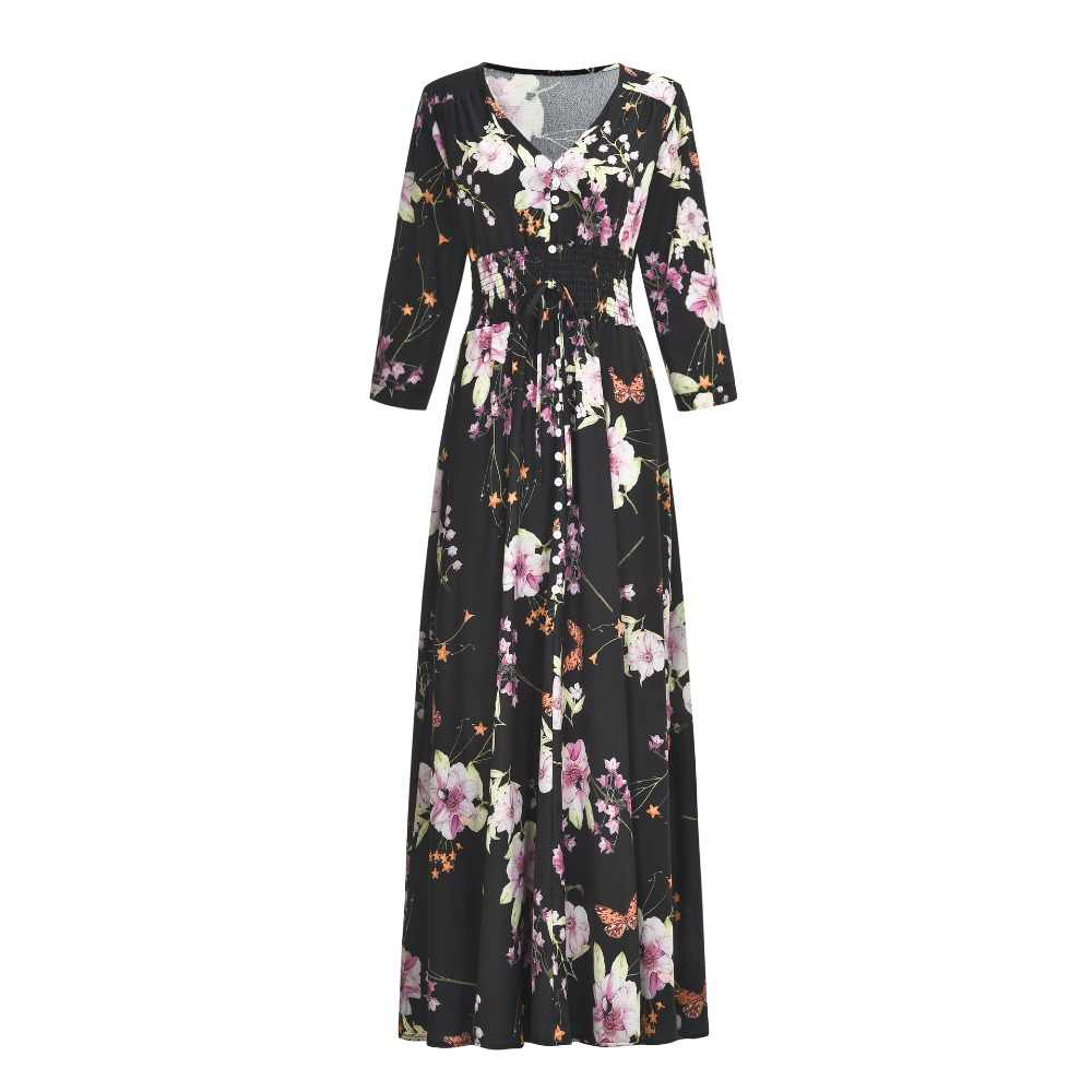 8798f7dbab5 ... summer dress 2019 women bohemian long maxi floral dress plus size  casual v-neck loose ...
