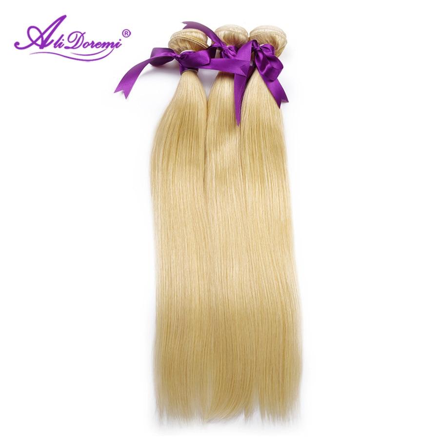 Alidoremi Brazilian Straight Hair #613 blonde Color 4 Pcs Hu