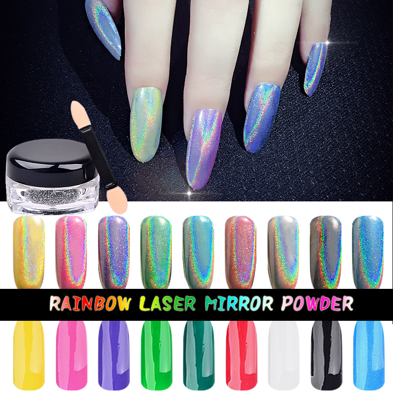 Nuovo 1g / scatola Colorful Laser Mirror Powder Rainbow Gradient polvere di polvere Glitter Chrome Pigment Nail Art Paillettes Strumenti di decorazione