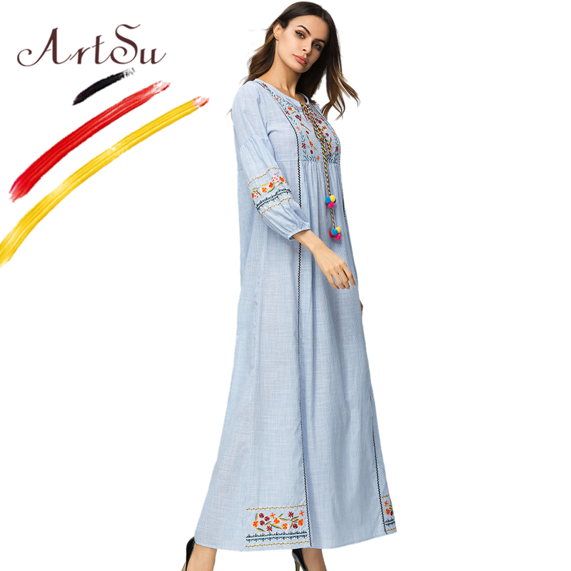 ArtSu Boho Dress Striped 2018 Vintage Floral Embroidery Maxi Dresses Spring Autumn Women Lantern Long Sleeve Vestidos Plus Size