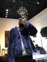 Arlenesain custom women short grey blue v-neck mink fur coat.