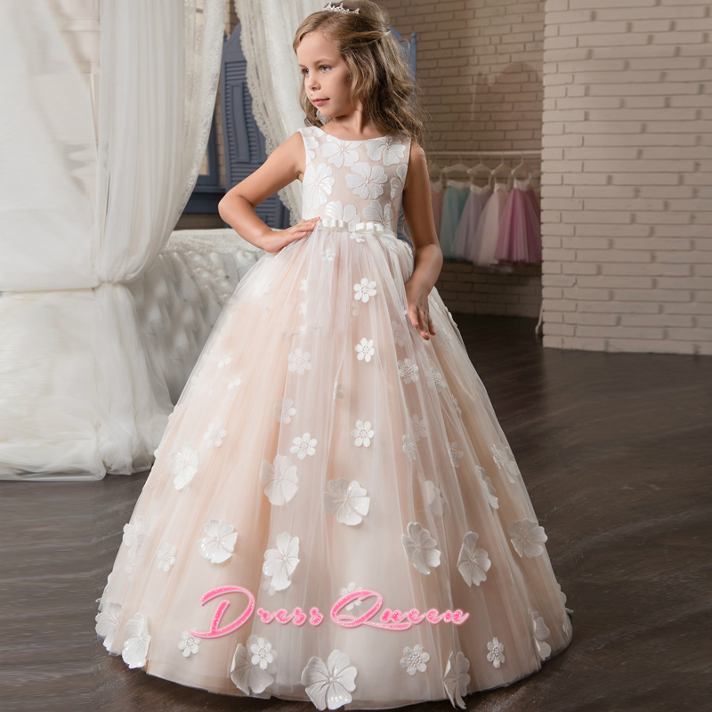 2017 Blush Lace Flower Girl Dresses For Weddings Hand made Flowers Appliques First Communion Dresses Girls Pageant Gown Vestidos 1 12t pink lace long trailing wedding dress flower girl dresses appliques first communion dresses for girls pageant dresses