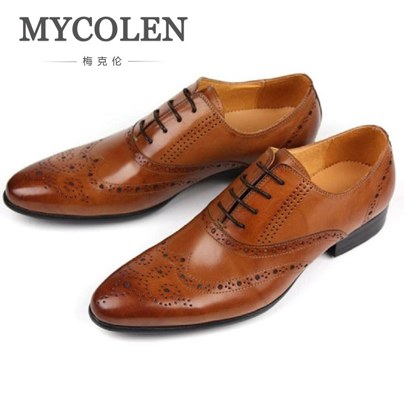 MYCOLEN Young Bullock Mens Shoes Genuine Leather Formal Wedding Dress Shoe For Man Lace Up Prom Oxfords Office Work Footwear mycolen luxury genuine leather men wedding dress shoes new lace up office man banquet party formal footwear oxfords prom shoes
