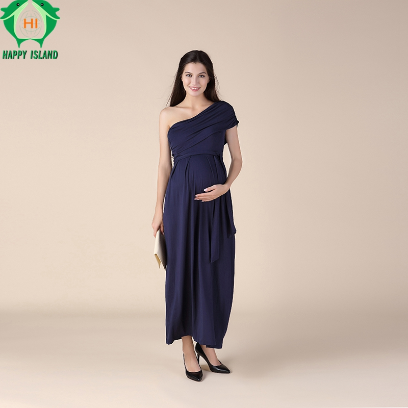 Summer Dresses One Shoulder Long Formal Evening Gowns For Pregnant Women Elegant Maternity Dress Office Lady Party Vestidos