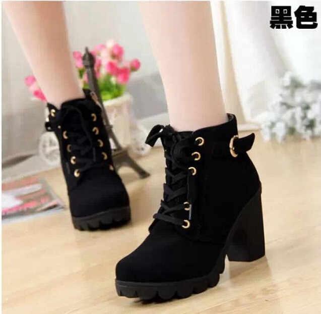 2018новые зимние повседневные женские туфли-лодочки, Теплые ботильоны, непромокаемые женские зимние сапоги на высоком каблуке, женская обувь, Botas plus EUR35-41