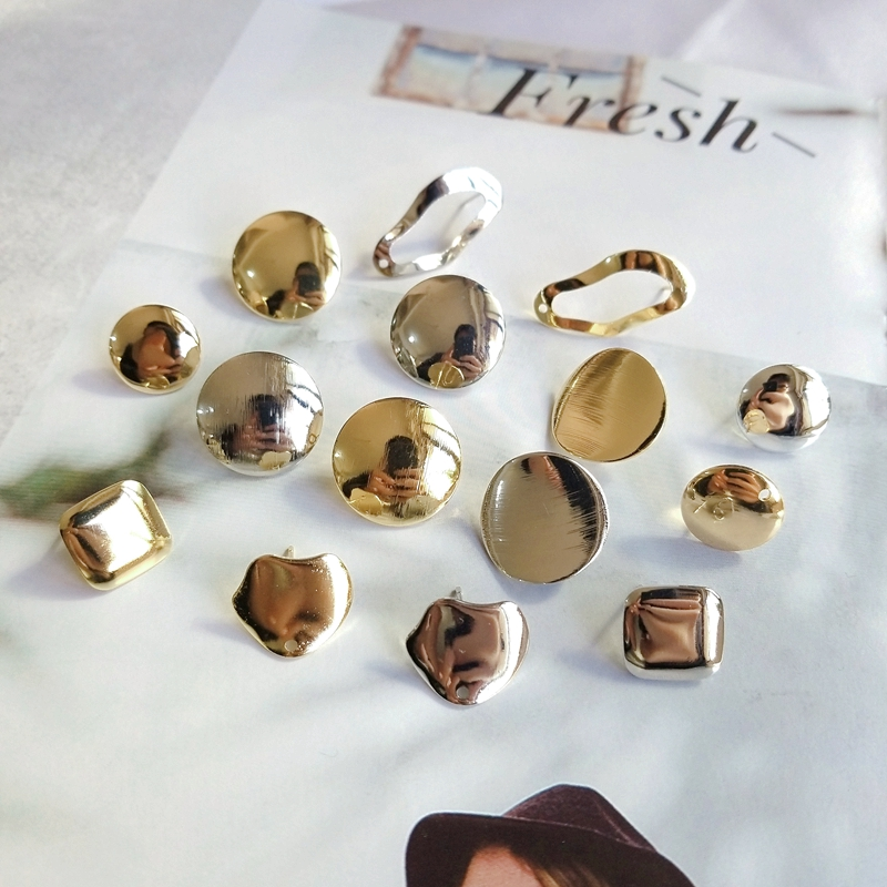 DIY Earrings Accessories Ear Needle Material Iron-plated Temperament Irregular Square Round Earrings Pendant