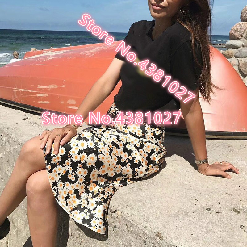 100% Donne di Seta Piccola Margherita Floreale di Alimentazione Stampa ins Vintage Beach Mermaid Midi Gonna