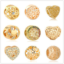 free shipping gold flower of Life bee heart zirconia copper bead fit original European pandora charm bracelet DIY women jewelry(China)