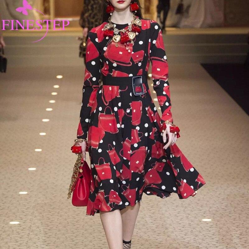 Bohème Imprimé Mignon mollet O Automne Longues Qualité 2019 Mi cou Robes Haute Robe Femmes Floral De Mode Noir Nouvelle g85qEgw