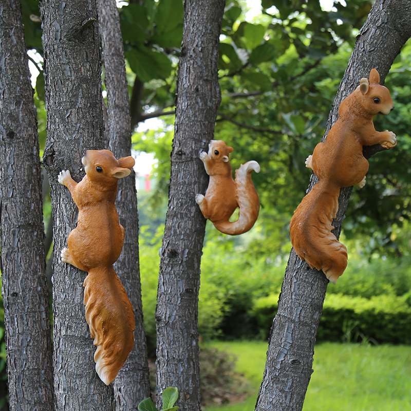 Garden decoration garden decoration outdoor garden kindergarten decoration ornaments simulation animal small squirrel ornaments(China)