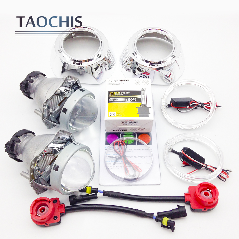 TAOCHIS 3.0 inch Bi-xenon Hella Projector Lens HID D2S with Shroud Devil Eyes Head Lamp Demon eye Headlight lens hot selling 360 degree cob led devil eyes headlights demon eye for 3 0 inch car headlight projector lens ring car styling