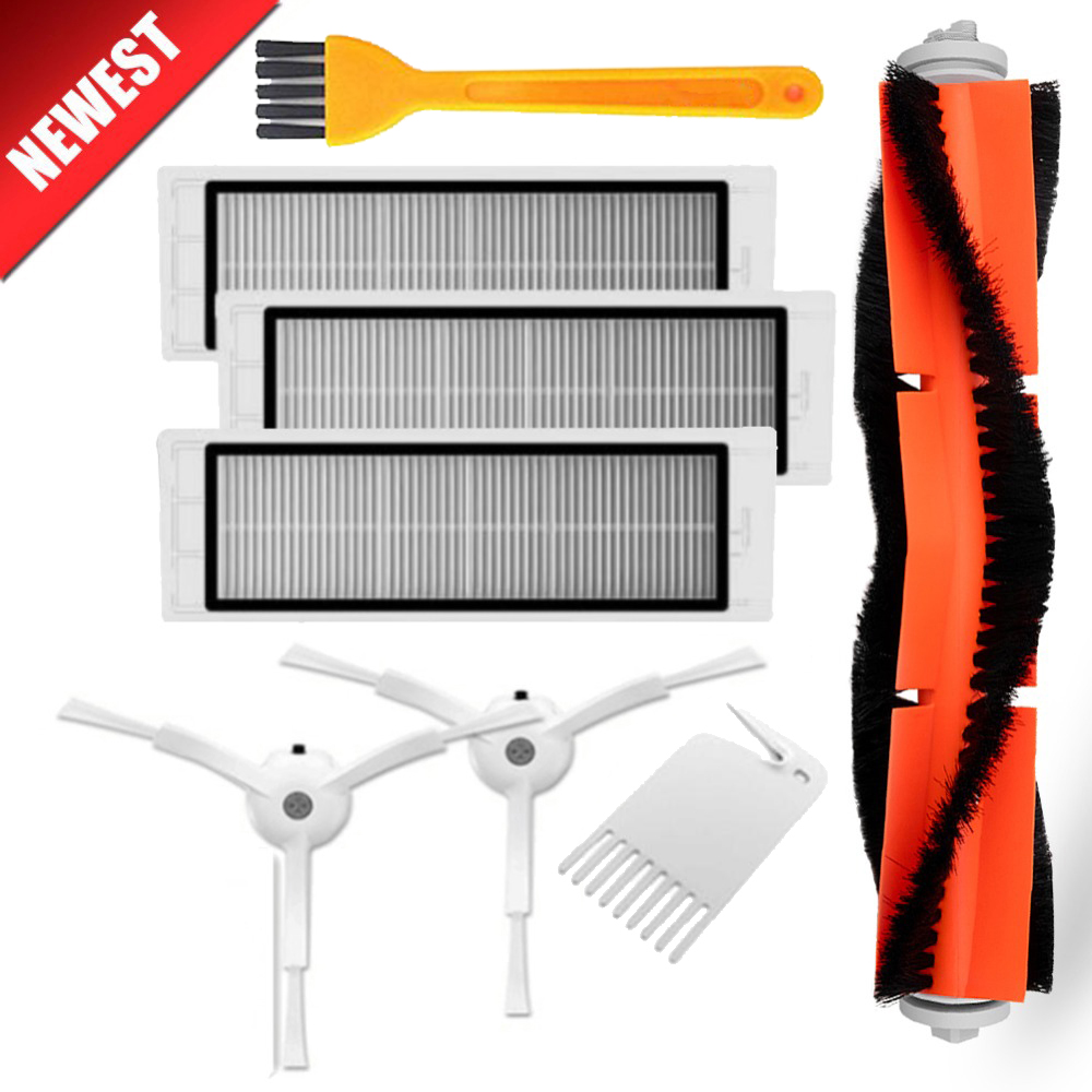 3PCS Hepa Filter+2PCS Side Brush+1PCS Main Brush Suitable For Xiaomi Mi Robot Roborock S50 S51 Vacuum Cleaner Parts Accessories