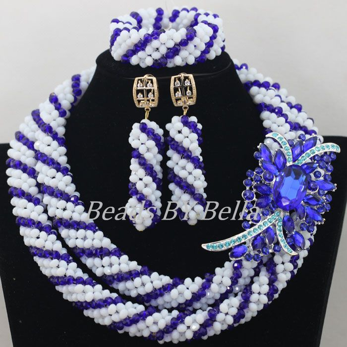 Hot Sale Choker Necklace White Crystal Beads Jewelry Set Nigerian Wedding Party African Beads Jewelry Set Free Shipping ABF592Hot Sale Choker Necklace White Crystal Beads Jewelry Set Nigerian Wedding Party African Beads Jewelry Set Free Shipping ABF592
