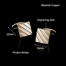 Qi Wu Stripe Black Color Shirt Cufflinks for Mens Jewelry Wedding Groom Cuff Iinks Metal Copper Custom Buttons Gifts