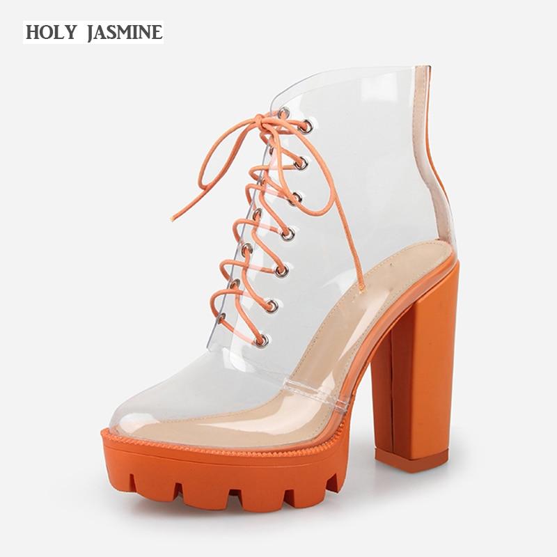 2019 夏の厚いかかとプラットフォーム女性の秋のブーツ透明アンクルブーツ女性のレースアッププラットフォームハイヒールのブーツ女性の靴  グループ上の 靴 からの アンクルブーツ の中 1