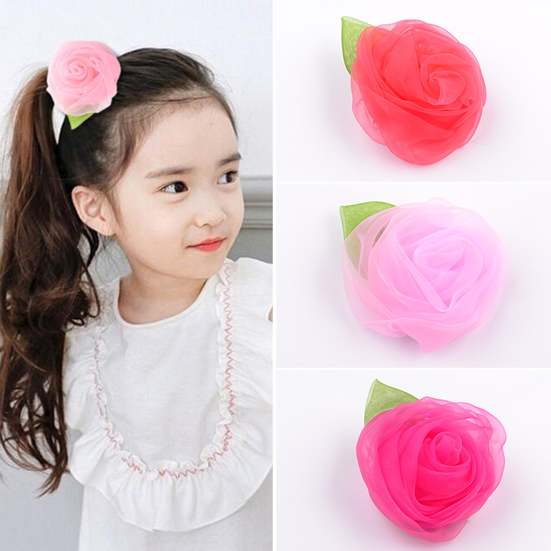 2017 Chiffon Flowers Children Girls Hair Accessories Rubber Bands Barrettes Headwear  Girl big flower Rose Hair Clip Hot magic elacstic hair bands big rose decor elastic hairbands hair clips headwear barrette bowknot for women girls accessories