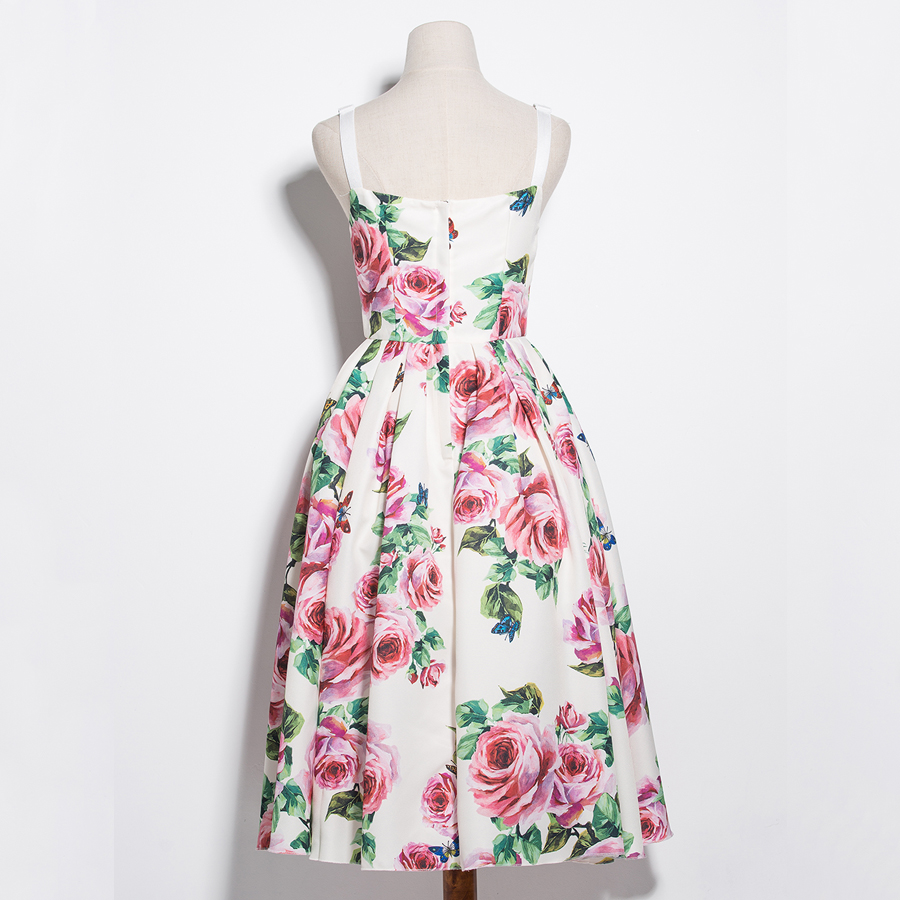 Flowers Knee New White Women Fashion Romantic Gown High Print Ball Rose Princess 2018 Beige Seqinyy Strap Dress Summer Quality Bw1CqFaO