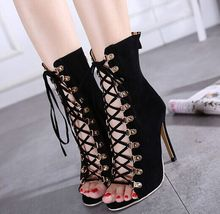 Size 4~9 Fashion Top Black Punk Women Shoes 2016 Lace Up Cool High Heels Shoes Elegant Pumps zapatos mujer (Chenk Foot Length)