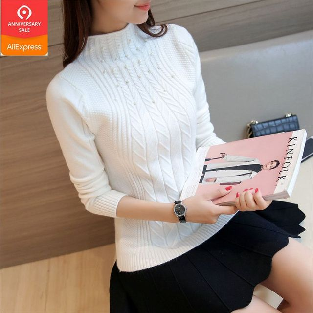 2019 New Korean women slim oblique twist elastic semi fixed bead decoration sleeve head warm turtleneck sweater backing