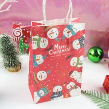 цена на 10pcs/lot Christmas Paper Gift Bags Snowman Pattern Packing Gift Bag Party Candies Cookie Packaging Bags