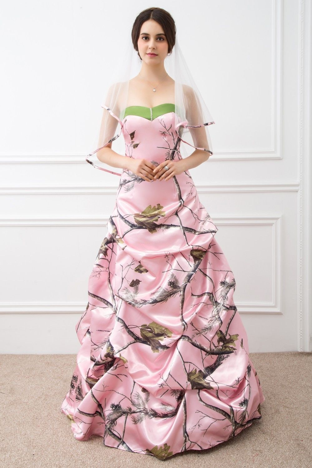 apg realtree camo formal wear realtree wedding dresses Realtree Halter A line wedding gown accented with a camouflage band at the neckline and hemline The detachable train is accented with camouflage roses