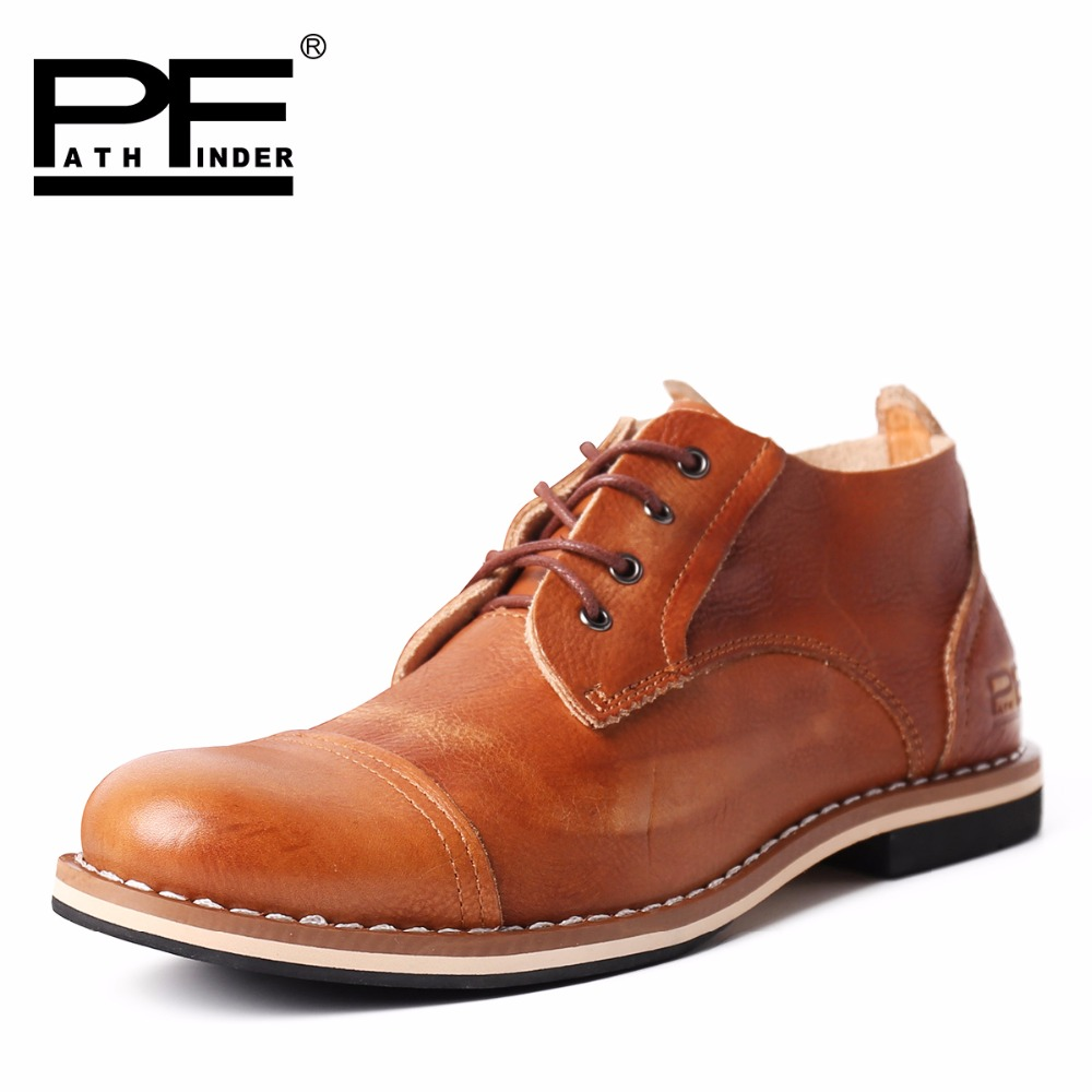 Pathfinder Men Vintage Leather Shoes fashion Genuine leather business casual shoes  Men's Dress Shoes Wedding Shoes 2017 men shoes fashion genuine leather oxfords shoes men s flats lace up men dress shoes spring autumn hombre wedding sapatos